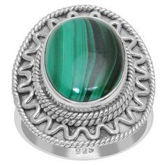 Orchid Jewelry 925 Sterling Silver 11 Carat Malachite Ring (925 Silver-Malachite-Size 8), Women's, Green