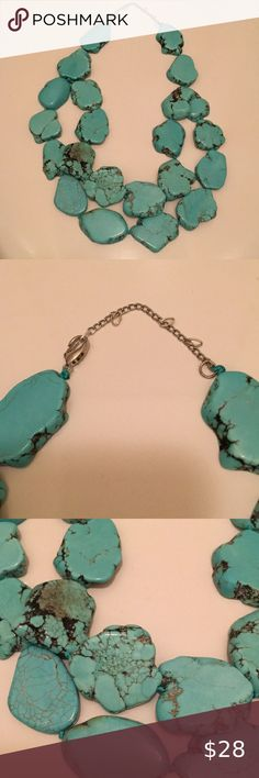 TURQUOISE 'SHAVED STONE' NECKLACE -Stunning Dyed Turquoise Veined Stones -Approximately -Hand Knotted between Stones -Adjustable rings on Extender to allow for different lengths 🚭, pet friendly home. None Jewelry Necklaces Beaded Tassel Necklace, Jewelry Necklaces, Stone Necklace, Vintage Jewelry, Stones, Women Jewelry, Retail, Fashion Tips, Fashion Design