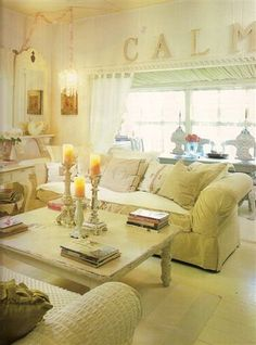 lovely shabby chic living room...love the CALM letters