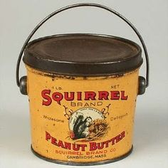 Old Squirrel Peanut Butter Tin...cute for fall displays