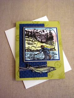 Masculine Birthday Fly Fishing Greeting Card