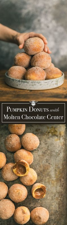 Pumpkin Brioche Donuts with Molten Chocolate Truffle Center dessert doughnuts bread Köstliche Desserts, Delicious Desserts, Dessert Recipes, Yummy Food, Donut Recipes, Brunch Recipes, Baking Recipes, Pumpkin Recipes, Fall Recipes