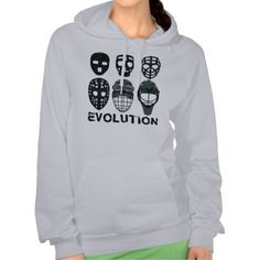 Hockey Goalie Mask Evolution Hooded Sweatshirt.  Warm and cosy American Apparel California Women's Fleece hooded tops! For many more #hockey hoodies, please check out my store: http://www.zazzle.com/gamefacegear*/
