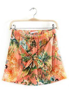 Falda estampada flores con lazo-Naranja