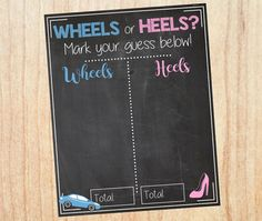 Wheels or Heels Gender Reveal Guess sign baby by redmorningstudios