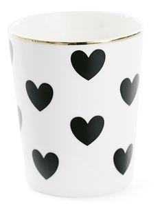Mok wit met zwarte hartjes (Ø8cm)