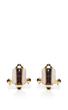 Vintage Cartier Mother of Pearl Sapphire and 18K Gold Cufflinks by Foundwell Now Available on Moda Operandi