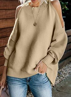 Cold Shoulder Pullover Sweater - Black, Green, Khaki, Gray or Whitecolor Hooded Sweater, Pullover Sweaters, Cardigans, Jumper, Sweatshirt, Cold Shoulder Sweater, Batwing Sleeve, Sweater Shop, Black Sweaters
