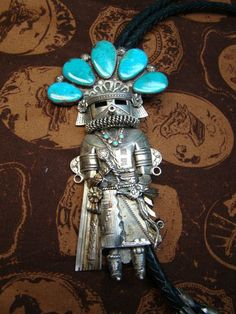 Kachina Bolo with Turquoise Headpiece