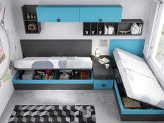 Vista aérea de la habitación juvenil con dos camas canapés en ángulo