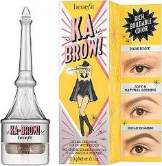 ka-BROW's all in one cream-gel formula with built in brush glides on smoothly to easily shape, fill and define brows. The buildable 24 hour* smudge-proof, waterproof** color creates brow looks ranging from a soft & natural look to bold & dramatic. Magically transform the cap into a full length brush for extra precision and control by pulling the brush out of the cap, flipping it around and snapping it back in.