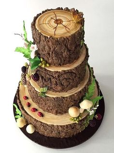 Wedding forest food tree cakes 65 Ideas for 2019 Gorgeous Cakes, Pretty Cakes, Amazing Cakes, Amazing Wedding Cakes, Decoration Patisserie, Woodland Cake, Woodland Forest, Bolo Cake, Tree Cakes