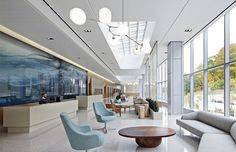 Ambulatory Cancer Center West Harrison, NY 102,000 SF freestanding outpatient facility offers holistic cancer care, personalized medicine, and cutting-edge clinical trials. A former office complex was creatively re-envisioned to create a light-filled, calming environment for patients and staff alike. Operationally efficient layout helps to reduce the cost of healthcare delivery and support both short- and long-term expansion possibilities.