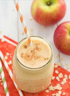 FALL Smoothies! Pumpkin & Apple Breakfast Smoothie | ¼ cup plus 2 tbsp. old-fashioned oats ¼ cup canned pumpkin ¾ cup Greek yogurt 1 medium apple, cut into pieces (I used honeycrisp and left the skin on) ½ banana, sliced and frozen ½ cup milk (almond, soy, cow's, etc. – whatever you prefer) ⅛ tsp. pumpkin pie spice 6 ice cubes