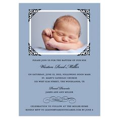 Beautifully Framed Scroll Blue Photo Baptism Invitation