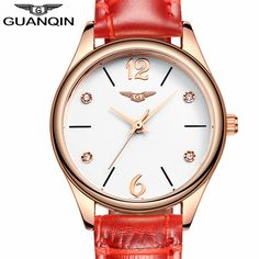 >> Click to Buy << relogio feminino GUANQIN Fashion Watches Women Luxury Brand Rose Gold Quartz Watch Ladies Casual Red Leather Strap Wrist Watch #Affiliate