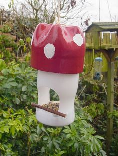 Recycled bottle bird feeder.