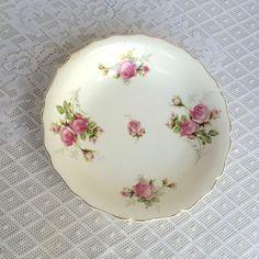 Vintage White Ceramic Vegetable Bowl / Canonsburg Moss Rose Serving Dish by…
