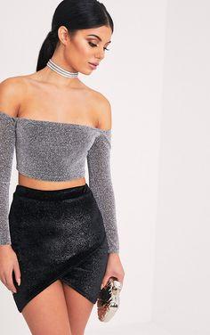 Juanita Black Glitter Velvet Wrap Mini Skirt