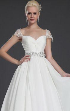 White chiffon beading wedding dress bridal lace shoulder wedding gown long wedding dresses ball gown evening dress