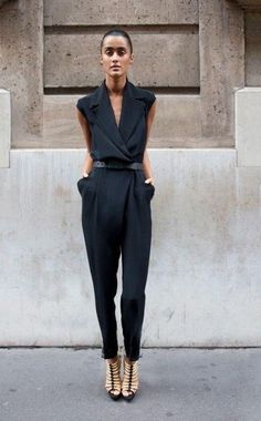 Good for me: blackened navy jumpsuit. Street Style. Except for the protruding pockets, he loved jumpsuits for me.
