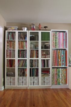 Sewing area storage - fabric vertical instead of stacks. [Like in the fabric store!]