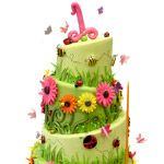 Garden Spring Birthday Cake This cute garden bug themed cake was created for a first birthday this past weekend. The entire cake is covered in celadon gree