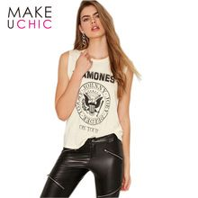 MAKEUCHIC Apparel Beige T-shirt Women Sexy Sleeveless Basic Top Tees Ladies Casual Streetwear Loose Letter Printed Pullovers //FREE Shipping Worldwide //