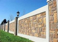 The main concern in the design of an Entrance Gate and Compound Wall is its uniformity with the design of the residence itself. Wall Design Outside House, Fence Wall Design, House Wall Design, Exterior Wall Design, Fence Design, Concrete Fence Wall, Stamped Concrete, Boundry Wall, Compound Wall Design