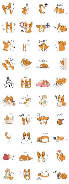 It is a Sticker of Corgi. [Sticker of Corgi 2 ] [PURI PURI Corgi ]. new [Sticker of Corgi on sale Kawaii Doodles, Kawaii Art, Corgi Drawing, Cartoon Painting, New Sticker, Animation Reference, Dog Illustration, Planner, Corgis