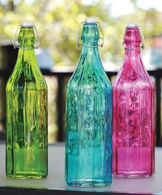 Another great find on #zulily! Vintage Colored Bottle - Set of Three by Circle Glass #zulilyfinds