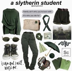 ~slytherin because why not~ Slytherin Pride, Slytherin Aesthetic, Harry Potter Aesthetic, Mode Harry Potter, Harry Potter Outfits, Harry Potter Fashion, Fandom Outfits, Komplette Outfits, Aesthetic Fashion