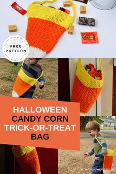 This free crochet candy corn bag pattern is perfect for Halloween trick-or-treating or as an overall autumn decoration. It is super easy to whip up and an awesome project for crochet beginners because it only requires the most basic of crochet skills! #crochetcandycorn #candycornbag #crochethalloween #trickortreatbag #treatbag #crochetbeginner #freepattern #crochetbag #crochetpattern Crochet Designs, Crochet Ideas, Crochet Projects, Diy Projects, Crochet Ball, Crochet Home, Free Crochet, Crochet Patterns For Beginners, Knitting Patterns