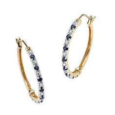 Genuine Midnight Blue Sapphire 18k Yellow Gold over 925 Sterling Silver Hoop Earrings 20mm >>> Details can be found by clicking on the image.(This is an Amazon affiliate link and I receive a commission for the sales)