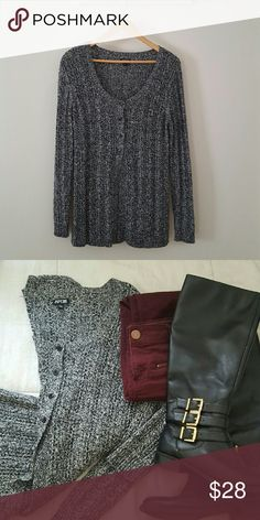 Long Sweater with half bottons Grey/black/white sweater with half bttoms at the top and split bottom - very cute peak a boo type look. Apt. 9 Sweaters