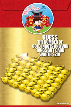 How many of you want to win $20 Worth of Tangs Gift Card?* It's pretty simple.  Step 1: 'Like' and 'Share' this post Step 2: Count the number of Gold Ingots displayed in the photo Step 3: Type in your answer at the comment section in the following format, ‪#‎DynastyCNYContest‬ <Answer> e.g #DynastyCNYContest <35> 3 Lucky Winners with the right answer wins! Contest ends on 9th Feb 2015, Monday and on the same day we will announce the 3 lucky winners.