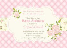 Invitación de la ducha de bebé acolchado Rose - para imprimir