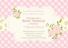 Quilted Rose Baby Shower Invitation - Printable on Etsy, $17.00