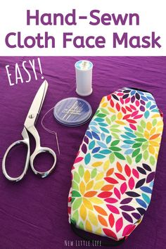 Hand-sew this easy DIY mask in 5 minutes or less! All you need is cotton fabric, 2 hair elastics (or shoe lace) and a needle & thread! Face Masks For Kids, Easy Face Masks, Sewing Hacks, Sewing Tutorials, Sewing Projects, Sewing Ideas, Mesh Ribbon, Diy Mask, Needle And Thread
