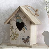 Rustic wooden Carte Postale with bird and butterfly hanging bird house. A decorative piece to hang or free stand in the home. A lovely addition to a shabby chic home and is really on trend.