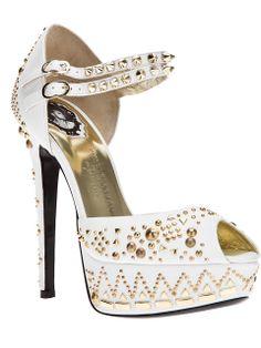 Philipp Plein White Studded Buckle Pumps #Shoes #Heels #Studs