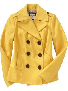 Beautiful Pea Coat by Old Navy......I love yellow.  How fun in the dreary dead of winter.