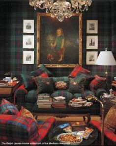 """Glorious Plaid and the Scottish Tartan - Clan Pride.  """"I really like the room above from the Ralph Lauren collection because of the walls. The entire wall is covered in plaid which is quite luxurious. It makes me think of a library or a gentleman's club."""""""