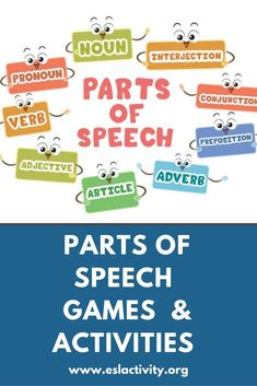 ESL parts of speech activities, games worksheets and lesson plans. Help students master the various English parts of speech with these fun, engaging and student-centred activities. Teaching Nouns, Teaching English Grammar, Learning English, Student Teaching, English Vocabulary, English Lesson Plans, Esl Lesson Plans, Pronoun Lesson Plan, Parts Of Speech Games