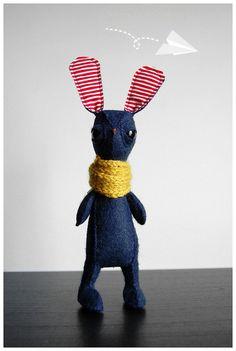 Pint Sized Bunny Rabbit Felt Plush by esbertscollection on Etsy, $50.00