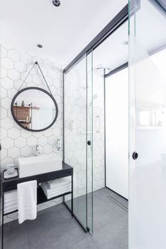 Looking for some bathroom inspiration for an upcoming bathroom renovation. How do you feel about hexagon tiles? White Bathroom, Modern Bathroom, Small Bathroom, Bathroom Ideas, Bathroom Designs, Shower Ideas, Bathroom Inspo, Stone Bathroom, Light Bathroom