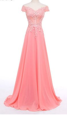 The Sleeves Of The Dress Have A Beautiful Hat Sleeve, From The Shoulders To The Pink Applique Of The Real Photo Party Dress Long Prom Dresses Uk, Lace Evening Dresses, Prom Party Dresses, Quinceanera Dresses, Sexy Dresses, Evening Gowns, Nice Dresses, Girls Dresses, Pageant Dresses