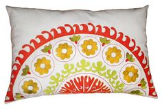 Suzani 14x20 Cotton Pillow, Orange/Multi on OneKingsLane.com