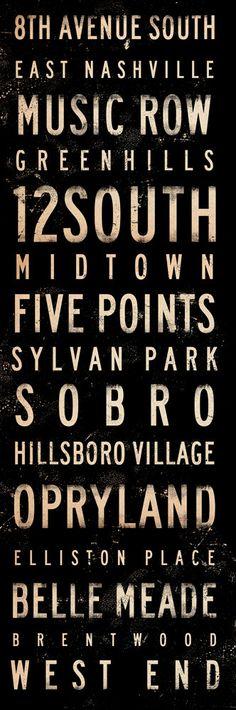 Nashville neighborhoods typography graphic art on canvas 12 x 36 x 1.5 by gemini studio