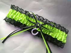 Wedding Garter bright green and black lace by AussieWeddingGarters